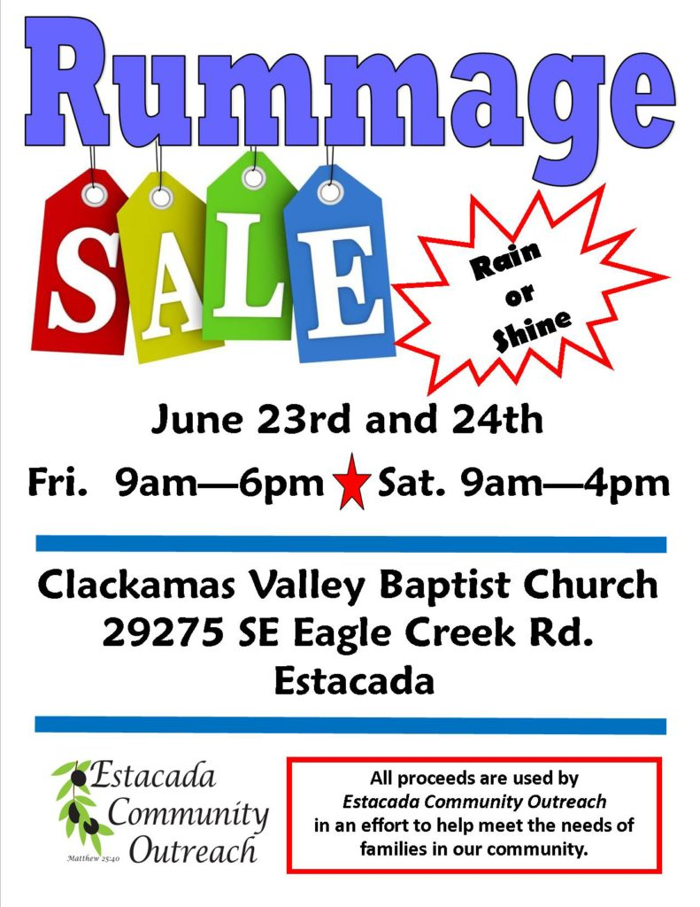 Rummage Sale – Clackamas Valley Baptist Church – (Official site)